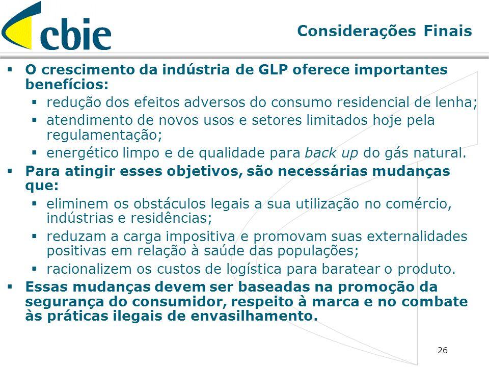 26 Considerações Finais O crescimento da indústria de GLP oferece importantes benefícios: redução dos efeitos adversos do consumo residencial de lenha