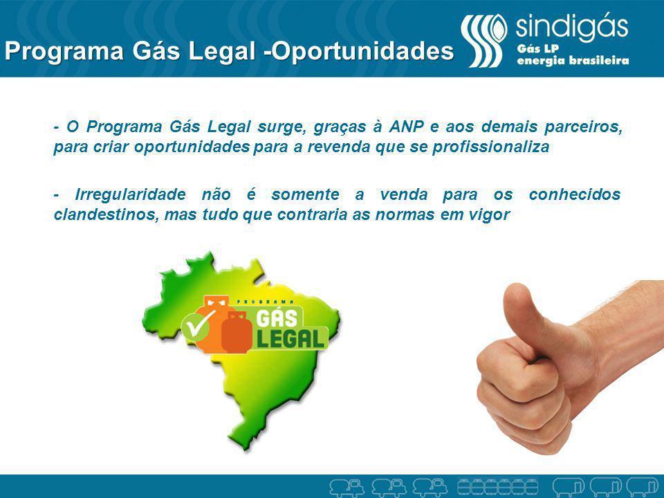 Programa Gás Legal -Oportunidades - O Programa Gás Legal surge, graças à ANP e aos demais parceiros, para criar oportunidades para a revenda que se pr