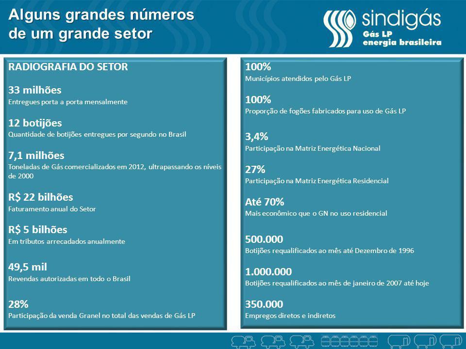 Alguns grandes números de um grande setor RADIOGRAFIA DO SETOR 33 milhões Entregues porta a porta mensalmente 12 botijões Quantidade de botijões entre