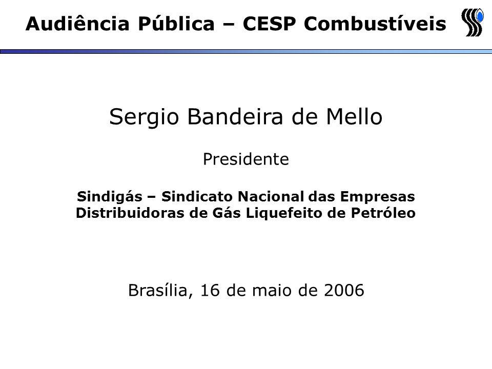 Audiência Pública – CESP Combustíveis Sergio Bandeira de Mello Presidente Sindigás – Sindicato Nacional das Empresas Distribuidoras de Gás Liquefeito