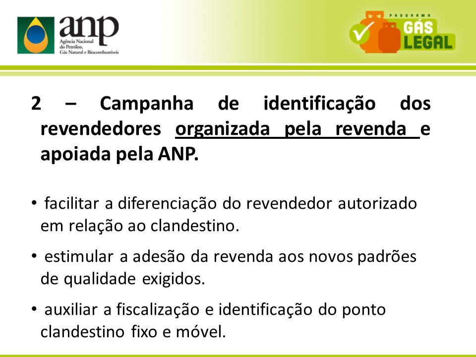 11 2 – Campanha de identificação dos revendedores organizada pela revenda e apoiada pela ANP. facilitar a diferenciação do revendedor autorizado em re