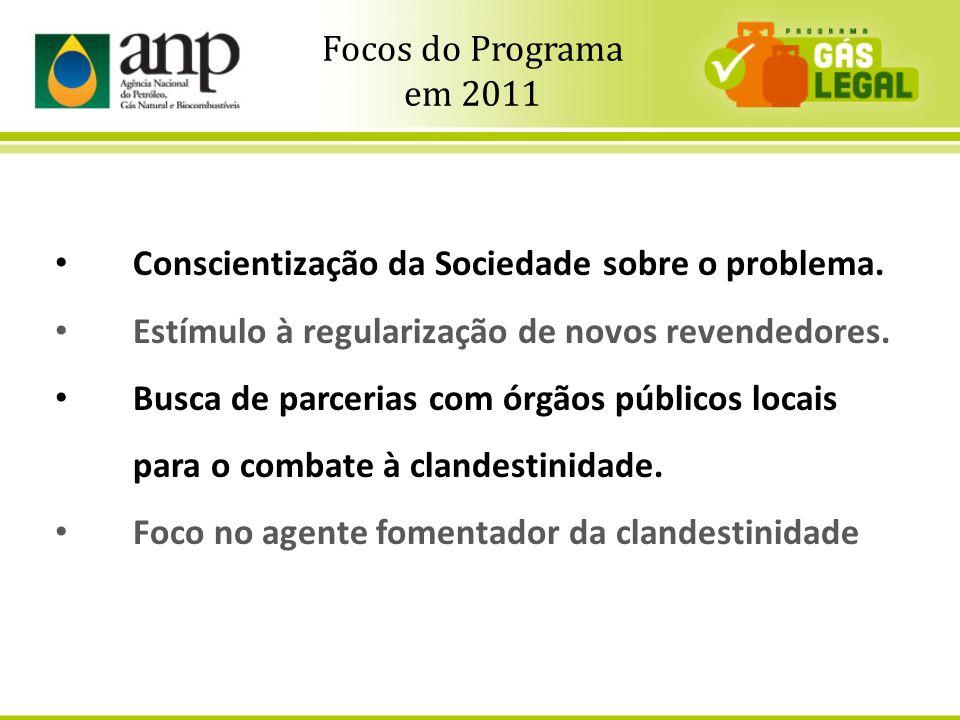 3 Conscientização da Sociedade sobre o problema. Estímulo à regularização de novos revendedores. Busca de parcerias com órgãos públicos locais para o