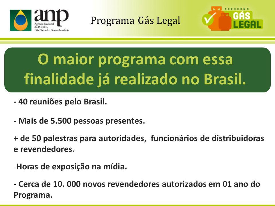 4 O maior programa com essa finalidade já realizado no Brasil. - 40 reuniões pelo Brasil. - Mais de 5.500 pessoas presentes. + de 50 palestras para au