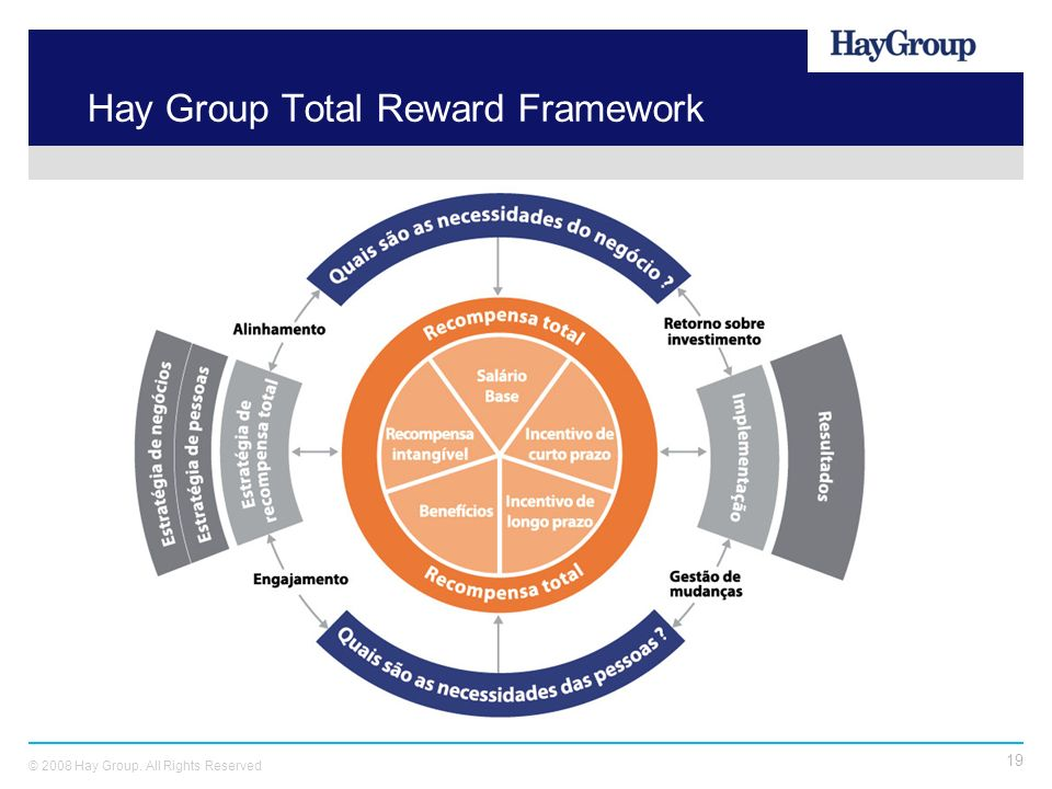 19 © 2008 Hay Group. All Rights Reserved Hay Group Total Reward Framework