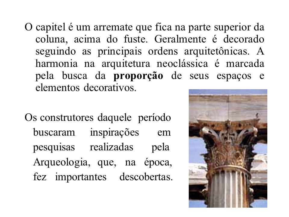 O capitel é um arremate que fica na parte superior da coluna, acima do fuste. Geralmente é decorado seguindo as principais ordens arquitetônicas. A ha