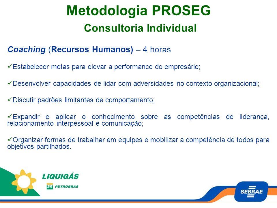Metodologia PROSEG Consultoria Individual Coaching (Recursos Humanos) – 4 horas Estabelecer metas para elevar a performance do empresário; Desenvolver