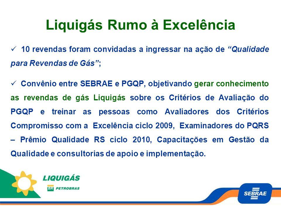 Liquigás Rumo à Excelência 10 revendas foram convidadas a ingressar na ação de Qualidade para Revendas de Gás; Convênio entre SEBRAE e PGQP, objetivan