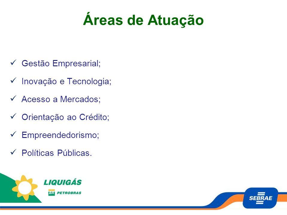 Áreas de Atuação Gestão Empresarial; Inovação e Tecnologia; Acesso a Mercados; Orientação ao Crédito; Empreendedorismo; Políticas Públicas.