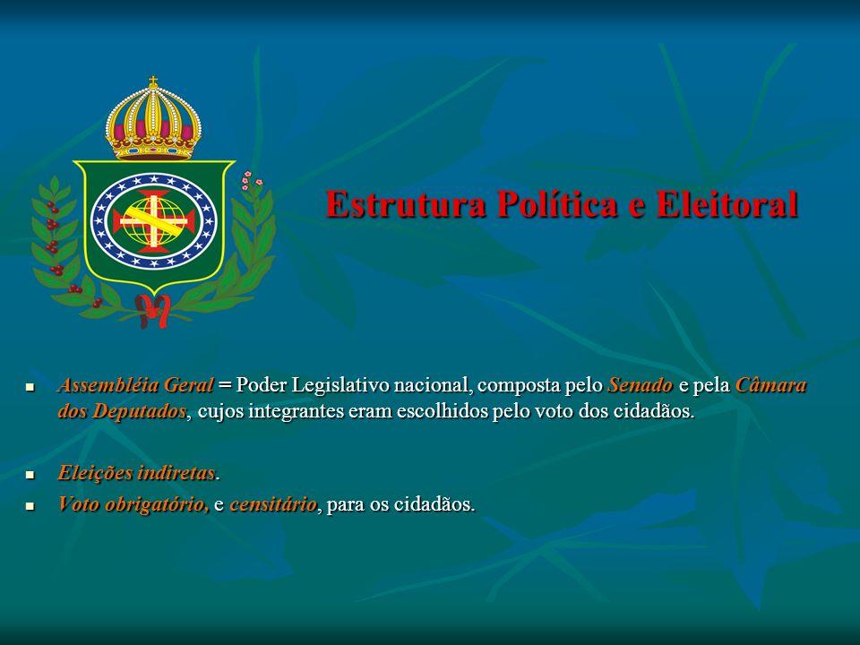 Estrutura Política e Eleitoral Estrutura Política e Eleitoral Assembléia Geral = Poder Legislativo nacional, composta pelo Senado e pela Câmara dos De
