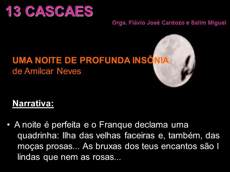 13 CASCAES Orgs. Flávio José Cardozo e Salim Miguel UMA NOITE DE PROFUNDA INSÔNIA, de Amilcar Neves Narrativa: A noite é perfeita e o Franque declama