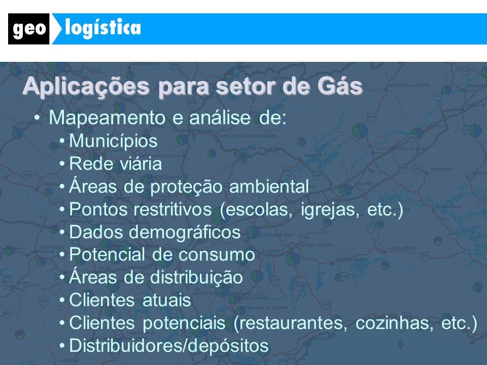 Aplicações para setor de Gás Mapeamento e análise de: Municípios Rede viária Áreas de proteção ambiental Pontos restritivos (escolas, igrejas, etc.) D