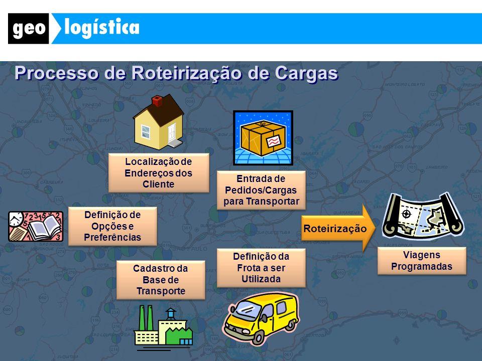 Localização de Endereços dos Cliente Entrada de Pedidos/Cargas para Transportar Definição da Frota a ser Utilizada Cadastro da Base de Transporte Defi