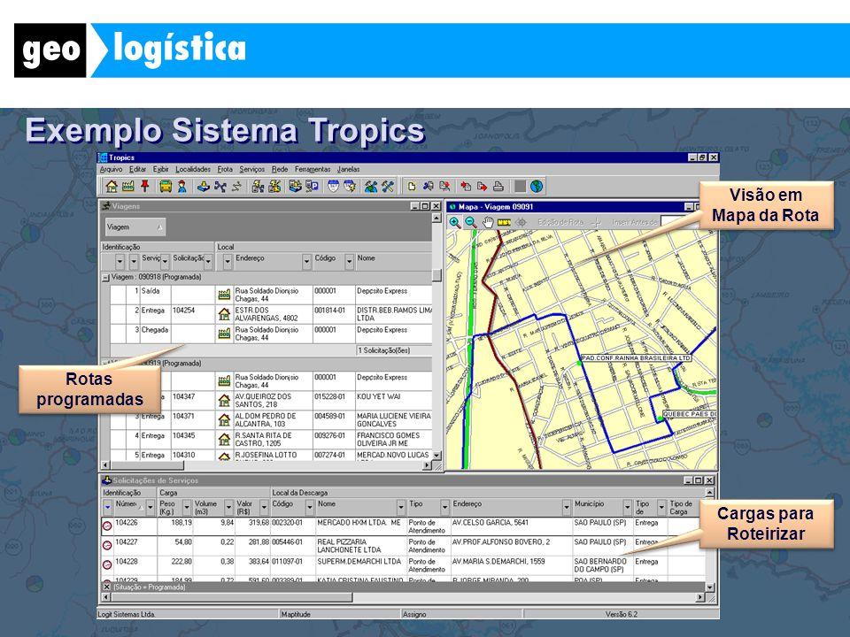 Exemplo Sistema Tropics Visão em Mapa da Rota Cargas para Roteirizar Rotas programadas