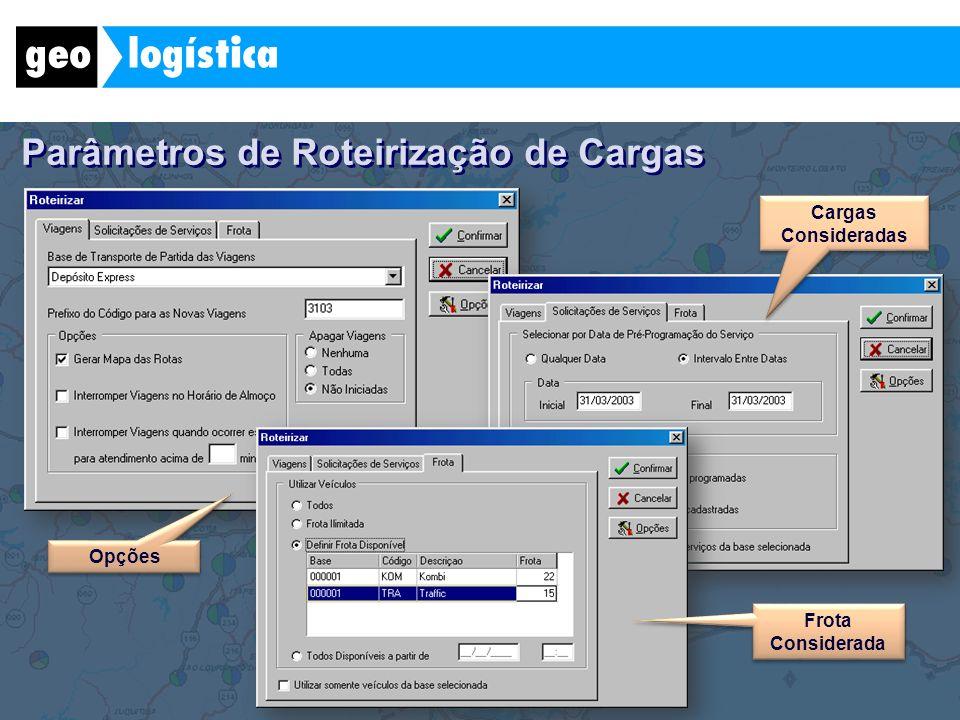 Parâmetros de Roteirização de Cargas Frota Considerada Cargas Consideradas Opções
