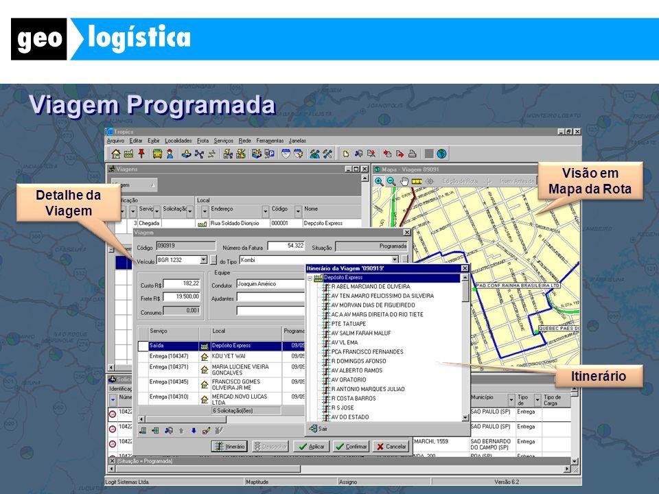 Viagem Programada Visão em Mapa da Rota Detalhe da Viagem Itinerário