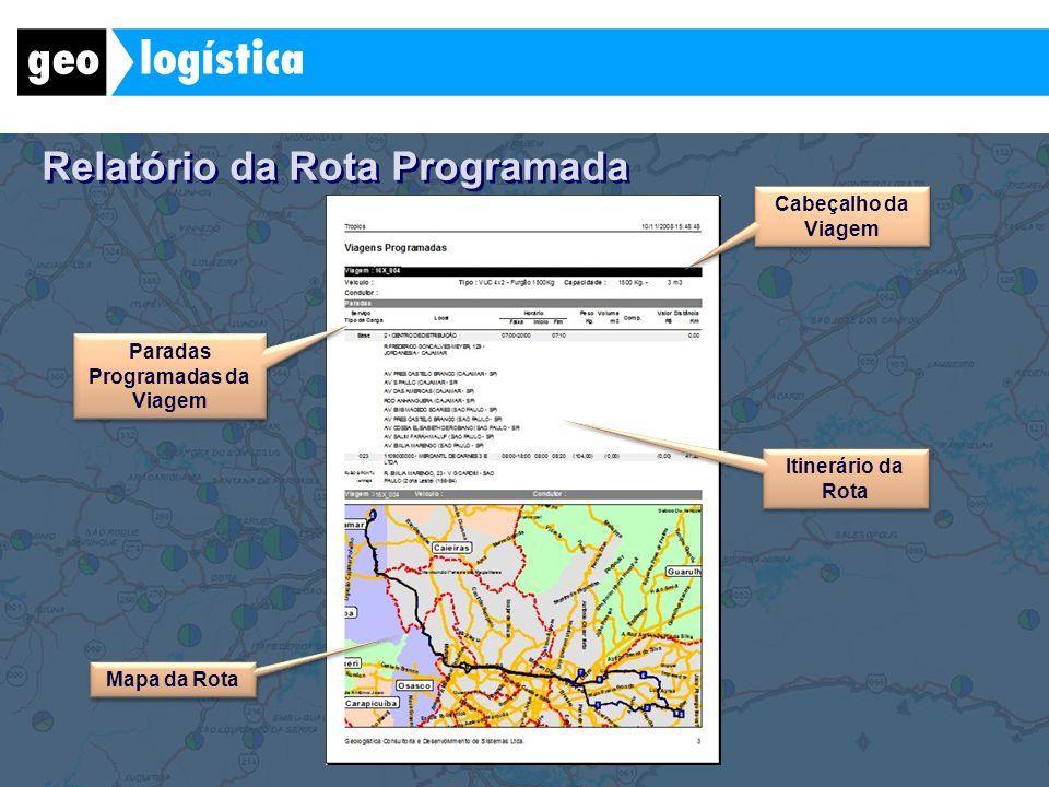 Relatório da Rota Programada Itinerário da Rota Paradas Programadas da Viagem Mapa da Rota Cabeçalho da Viagem
