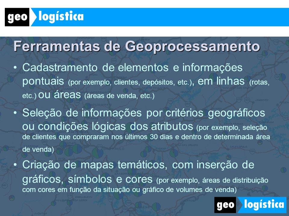 Ferramentas de Geoprocessamento Cadastramento de elementos e informações pontuais (por exemplo, clientes, depósitos, etc.), em linhas (rotas, etc.) ou