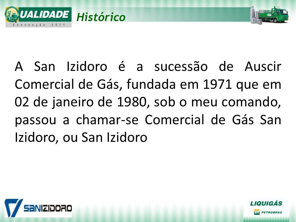 Histórico A San Izidoro é a sucessão de Auscir Comercial de Gás, fundada em 1971 que em 02 de janeiro de 1980, sob o meu comando, passou a chamar-se C