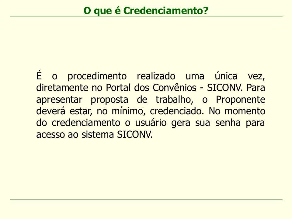 É o procedimento realizado uma única vez, diretamente no Portal dos Convênios - SICONV. Para apresentar proposta de trabalho, o Proponente deverá esta