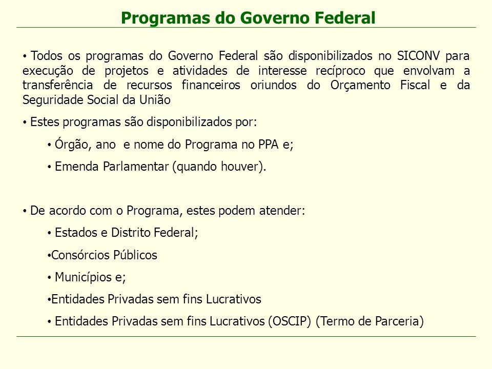 Todos os programas do Governo Federal são disponibilizados no SICONV para execução de projetos e atividades de interesse recíproco que envolvam a tran