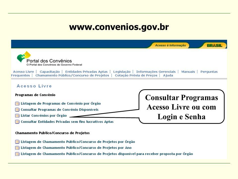 Consultar Programas Acesso Livre ou com Login e Senha www.convenios.gov.br