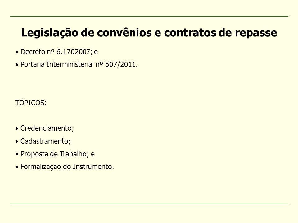 Decreto nº 6.1702007; e Portaria Interministerial nº 507/2011. TÓPICOS: Credenciamento; Cadastramento; Proposta de Trabalho; e Formalização do Instrum