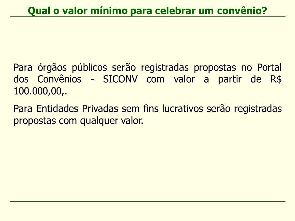 Para órgãos públicos serão registradas propostas no Portal dos Convênios - SICONV com valor a partir de R$ 100.000,00,. Para Entidades Privadas sem fi