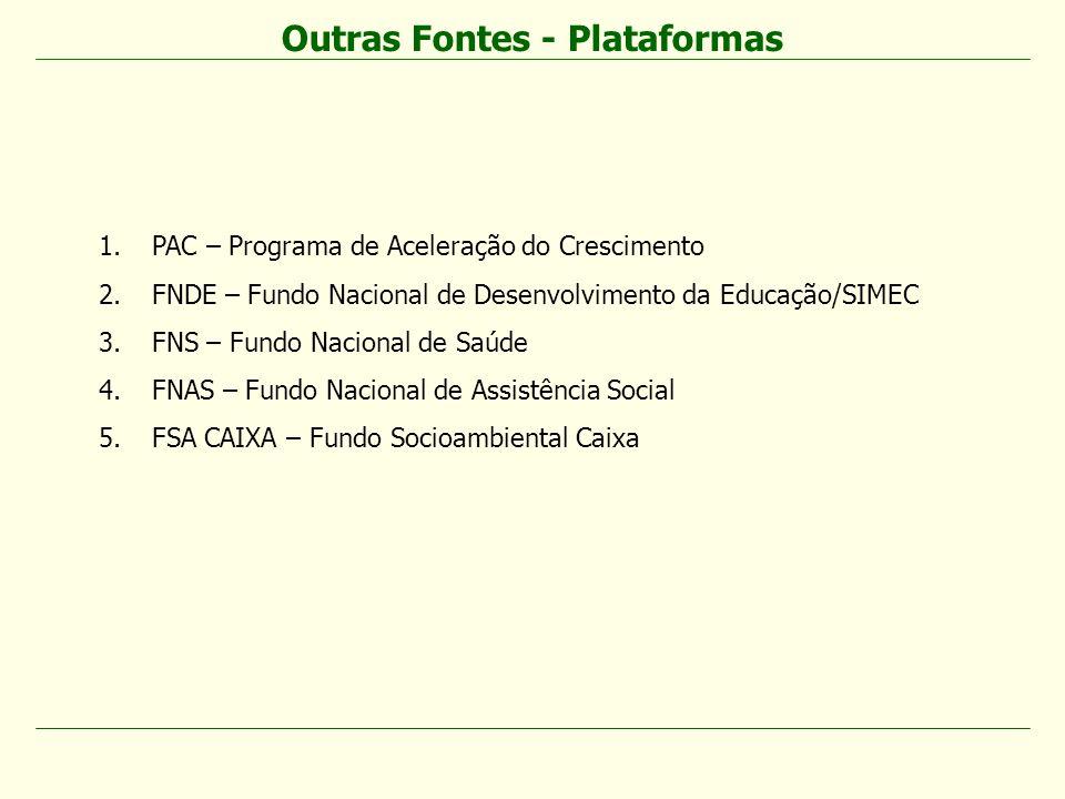 Outras Fontes - Plataformas 1.PAC – Programa de Aceleração do Crescimento 2.FNDE – Fundo Nacional de Desenvolvimento da Educação/SIMEC 3.FNS – Fundo N