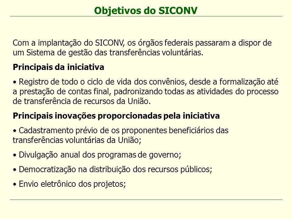 Com a implantação do SICONV, os órgãos federais passaram a dispor de um Sistema de gestão das transferências voluntárias. Principais da iniciativa Reg