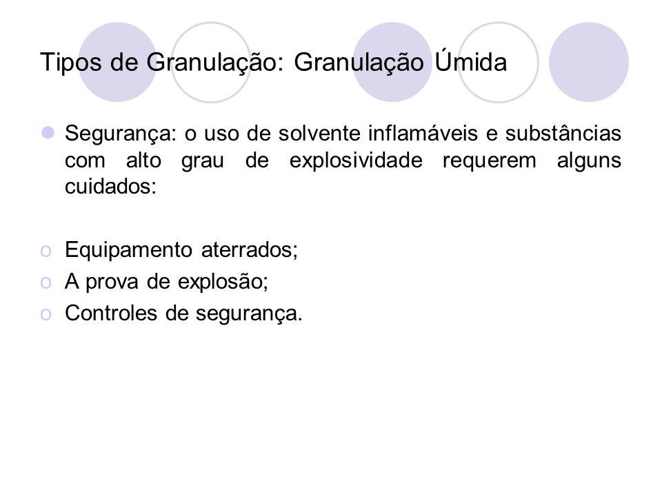 Tipos de Granulação: Granulação Úmida Segurança: o uso de solvente inflamáveis e substâncias com alto grau de explosividade requerem alguns cuidados: