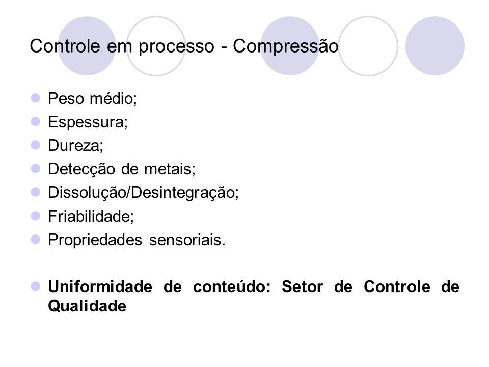 Controle em processo - Compressão Peso médio; Espessura; Dureza; Detecção de metais; Dissolução/Desintegração; Friabilidade; Propriedades sensoriais.
