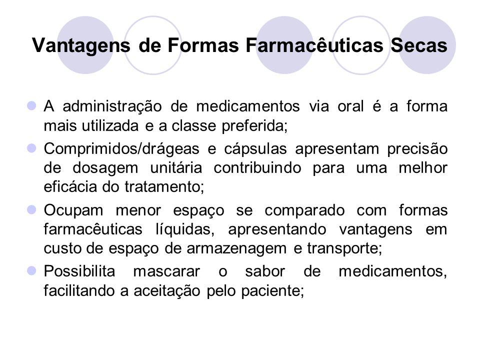 Vantagens de Formas Farmacêuticas Secas A administração de medicamentos via oral é a forma mais utilizada e a classe preferida; Comprimidos/drágeas e