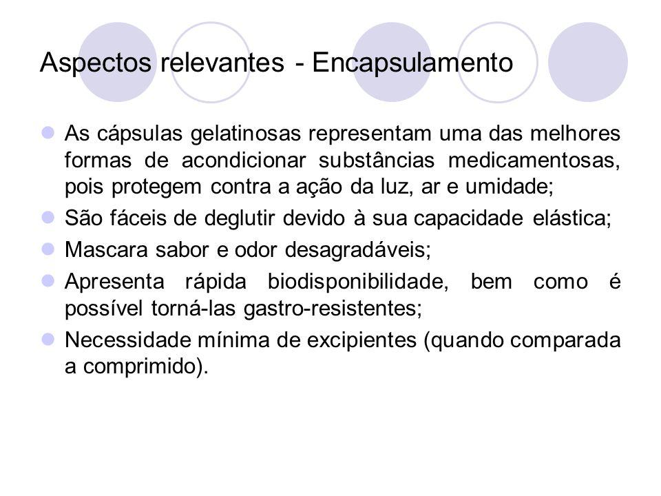 Aspectos relevantes - Encapsulamento As cápsulas gelatinosas representam uma das melhores formas de acondicionar substâncias medicamentosas, pois prot