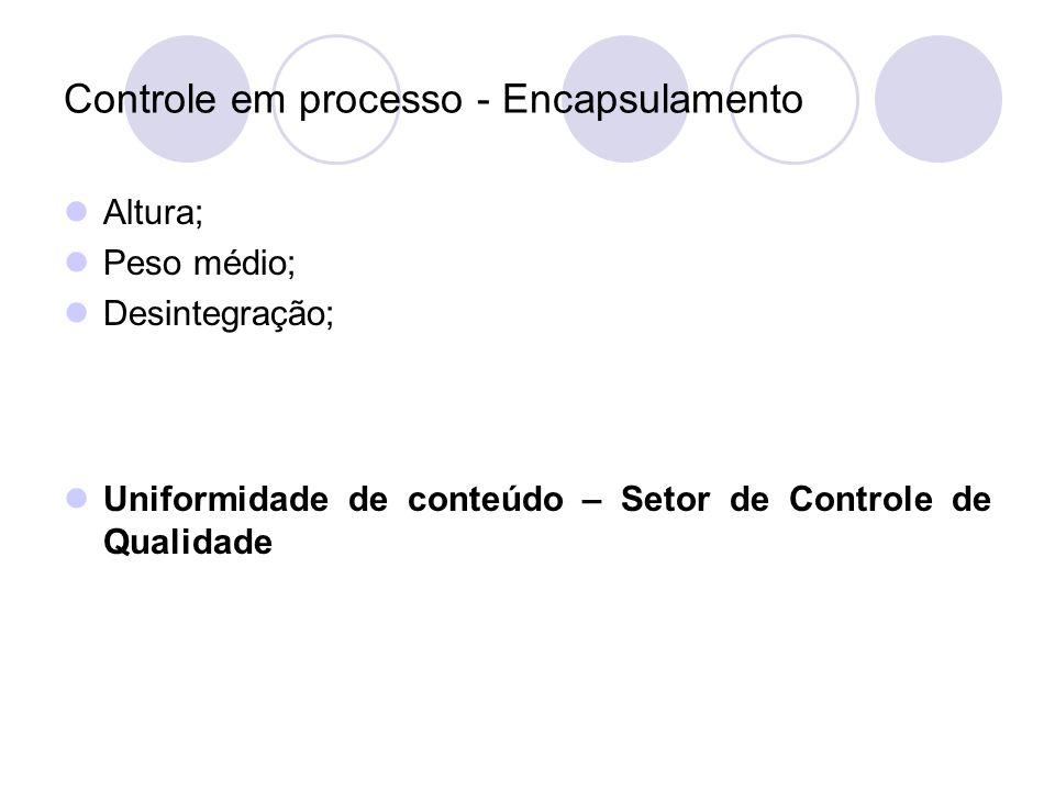 Controle em processo - Encapsulamento Altura; Peso médio; Desintegração; Uniformidade de conteúdo – Setor de Controle de Qualidade