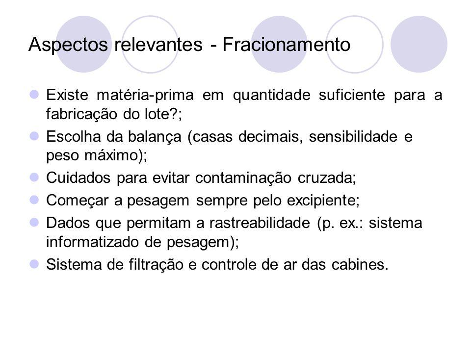 Aspectos relevantes - Fracionamento Existe matéria-prima em quantidade suficiente para a fabricação do lote?; Escolha da balança (casas decimais, sens