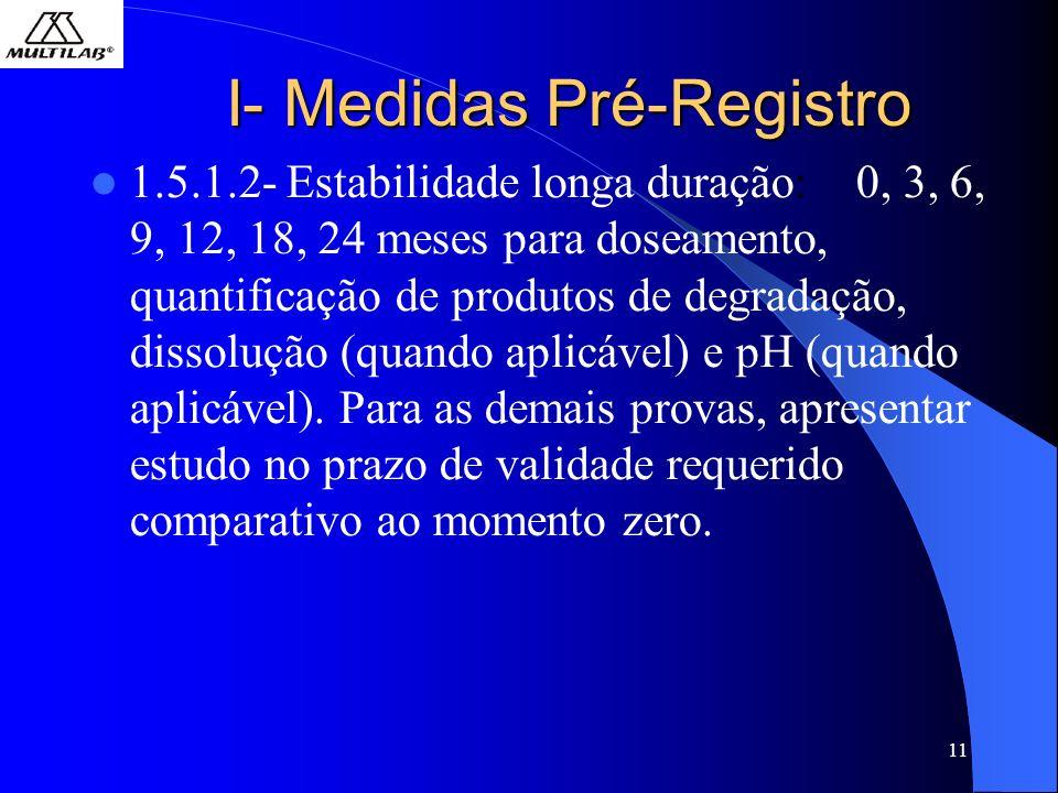 11 I- Medidas Pré-Registro 1.5.1.2- Estabilidade longa duração: 0, 3, 6, 9, 12, 18, 24 meses para doseamento, quantificação de produtos de degradação, dissolução (quando aplicável) e pH (quando aplicável).