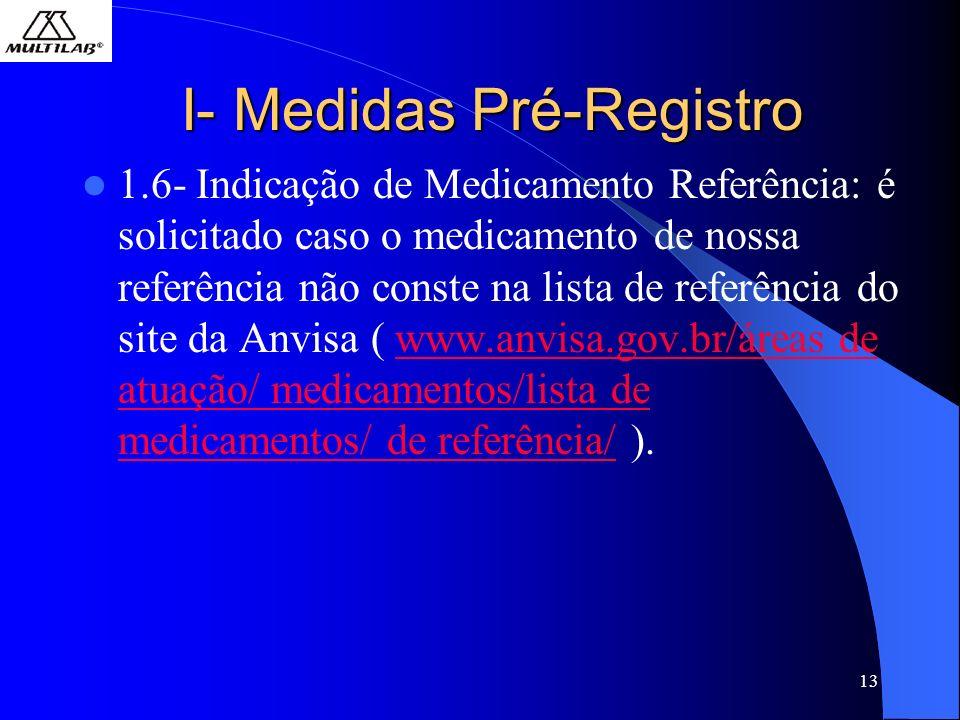13 I- Medidas Pré-Registro 1.6- Indicação de Medicamento Referência: é solicitado caso o medicamento de nossa referência não conste na lista de referência do site da Anvisa ( www.anvisa.gov.br/áreas de atuação/ medicamentos/lista de medicamentos/ de referência/ ).www.anvisa.gov.br/áreas de atuação/ medicamentos/lista de medicamentos/ de referência/