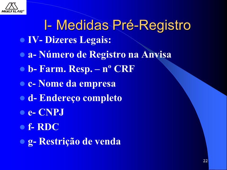22 I- Medidas Pré-Registro IV- Dizeres Legais: a- Número de Registro na Anvisa b- Farm. Resp. – nº CRF c- Nome da empresa d- Endereço completo e- CNPJ