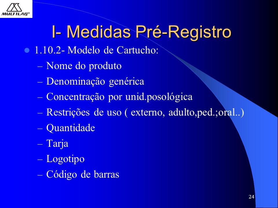 24 I- Medidas Pré-Registro 1.10.2- Modelo de Cartucho: – Nome do produto – Denominação genérica – Concentração por unid.posológica – Restrições de uso