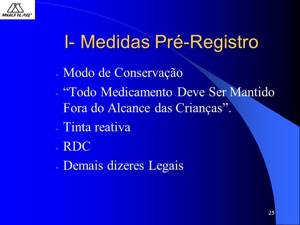 25 I- Medidas Pré-Registro - Modo de Conservação - Todo Medicamento Deve Ser Mantido Fora do Alcance das Crianças.