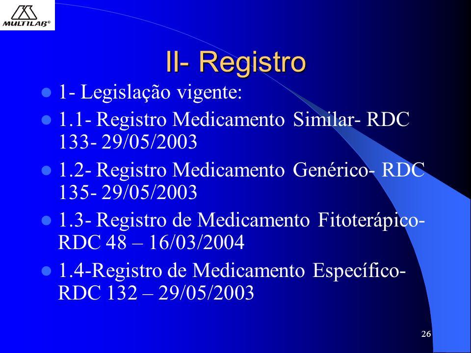 26 II- Registro 1- Legislação vigente: 1.1- Registro Medicamento Similar- RDC 133- 29/05/2003 1.2- Registro Medicamento Genérico- RDC 135- 29/05/2003 1.3- Registro de Medicamento Fitoterápico- RDC 48 – 16/03/2004 1.4-Registro de Medicamento Específico- RDC 132 – 29/05/2003