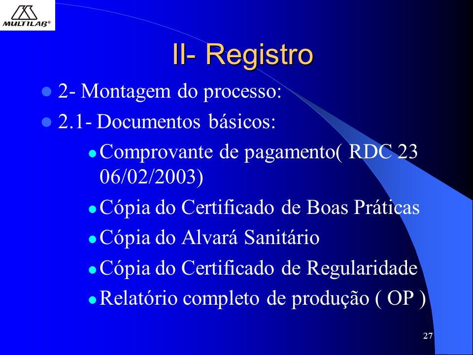27 II- Registro 2- Montagem do processo: 2.1- Documentos básicos: Comprovante de pagamento( RDC 23 06/02/2003) Cópia do Certificado de Boas Práticas Cópia do Alvará Sanitário Cópia do Certificado de Regularidade Relatório completo de produção ( OP )