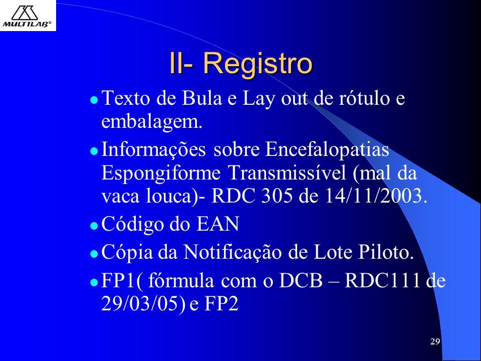 29 II- Registro Texto de Bula e Lay out de rótulo e embalagem. Informações sobre Encefalopatias Espongiforme Transmissível (mal da vaca louca)- RDC 30