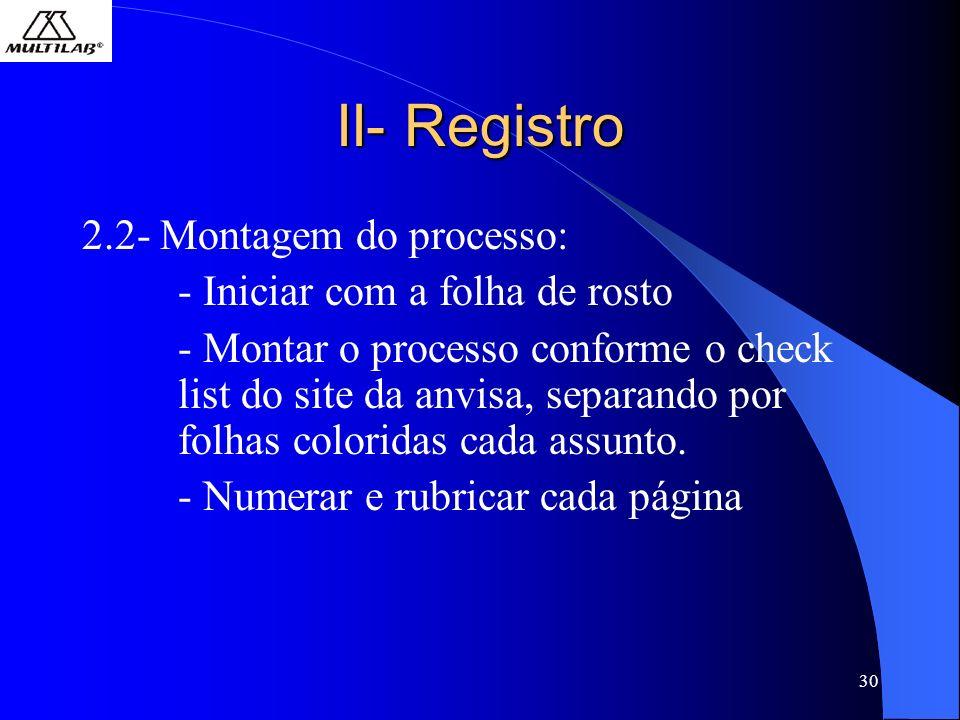 30 II- Registro 2.2- Montagem do processo: - Iniciar com a folha de rosto - Montar o processo conforme o check list do site da anvisa, separando por folhas coloridas cada assunto.