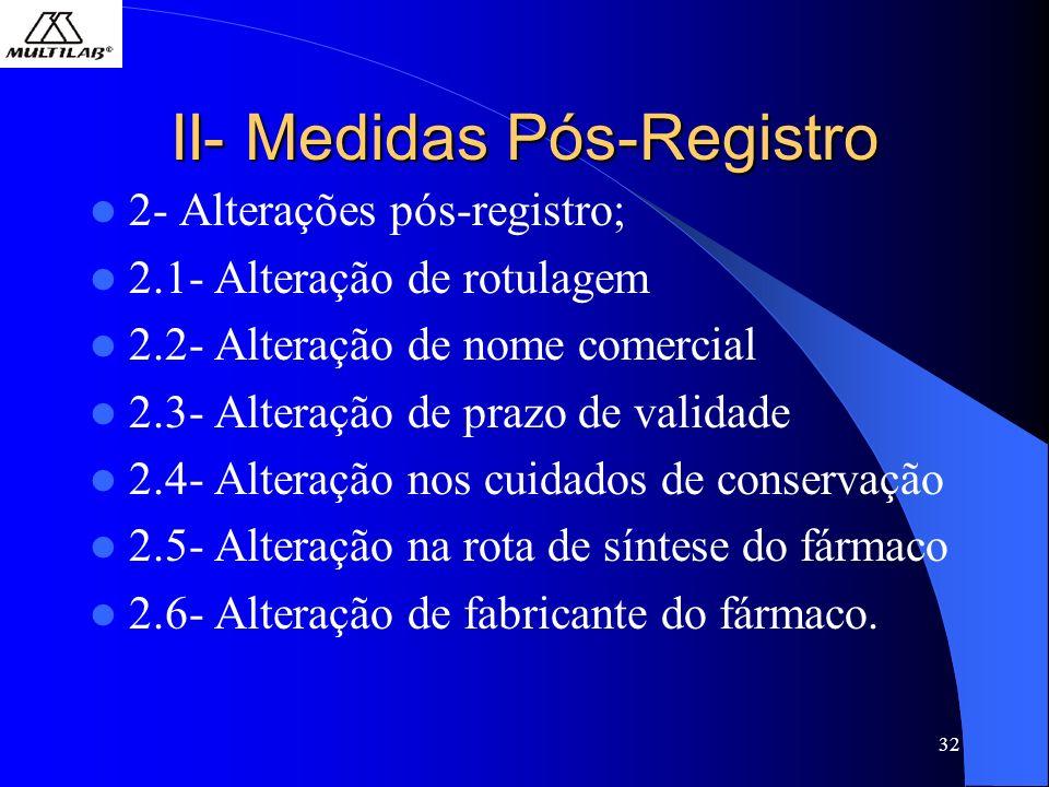 32 II- Medidas Pós-Registro 2- Alterações pós-registro; 2.1- Alteração de rotulagem 2.2- Alteração de nome comercial 2.3- Alteração de prazo de validade 2.4- Alteração nos cuidados de conservação 2.5- Alteração na rota de síntese do fármaco 2.6- Alteração de fabricante do fármaco.