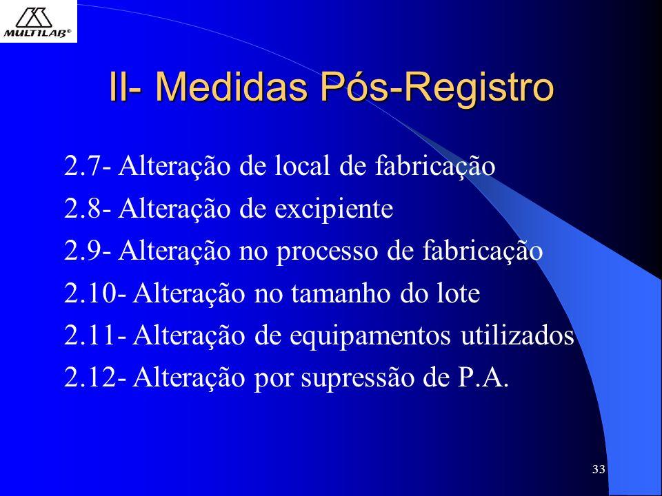 33 II- Medidas Pós-Registro 2.7- Alteração de local de fabricação 2.8- Alteração de excipiente 2.9- Alteração no processo de fabricação 2.10- Alteração no tamanho do lote 2.11- Alteração de equipamentos utilizados 2.12- Alteração por supressão de P.A.