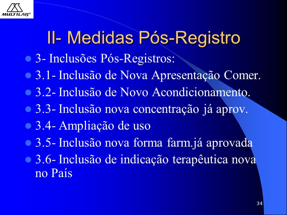 34 II- Medidas Pós-Registro 3- Inclusões Pós-Registros: 3.1- Inclusão de Nova Apresentação Comer. 3.2- Inclusão de Novo Acondicionamento. 3.3- Inclusã