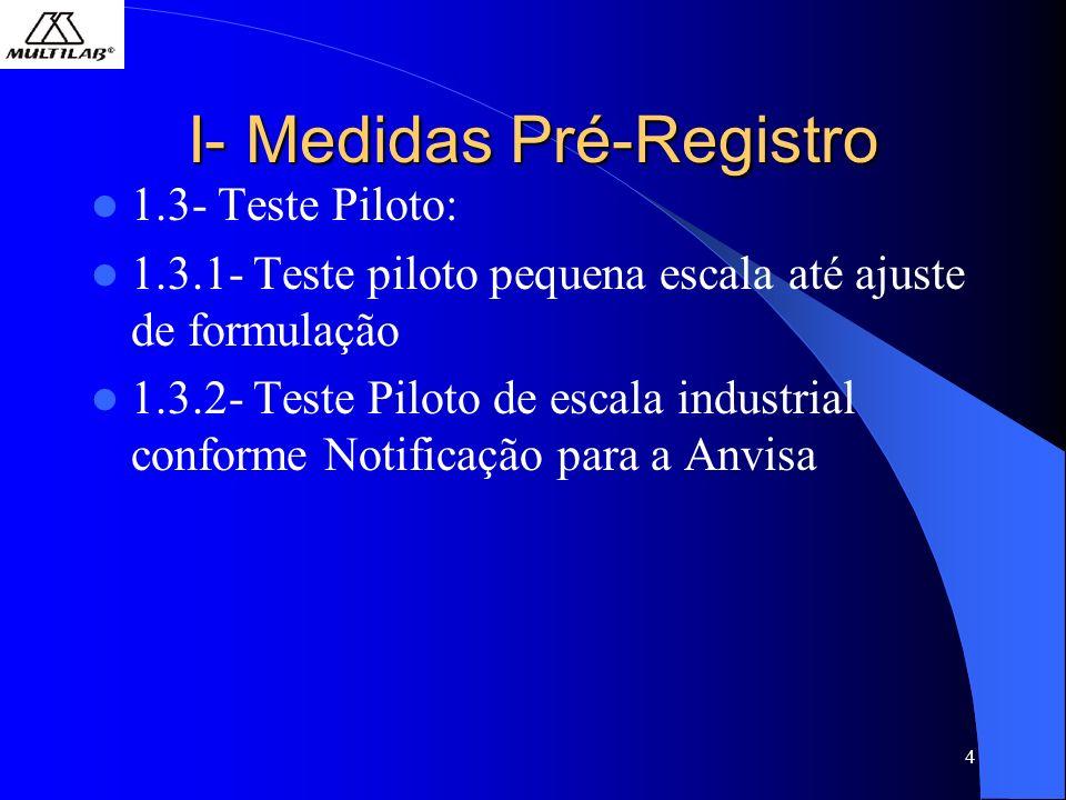 4 I- Medidas Pré-Registro 1.3- Teste Piloto: 1.3.1- Teste piloto pequena escala até ajuste de formulação 1.3.2- Teste Piloto de escala industrial conforme Notificação para a Anvisa