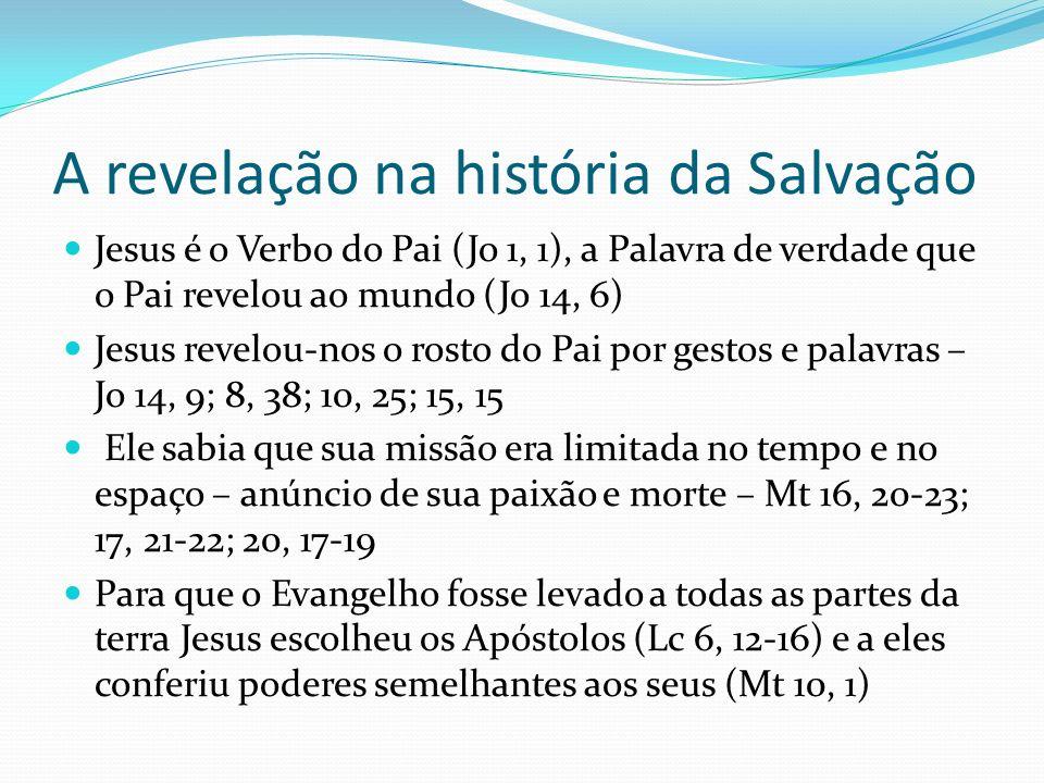 A revelação na história da Salvação Jesus é o Verbo do Pai (Jo 1, 1), a Palavra de verdade que o Pai revelou ao mundo (Jo 14, 6) Jesus revelou-nos o r