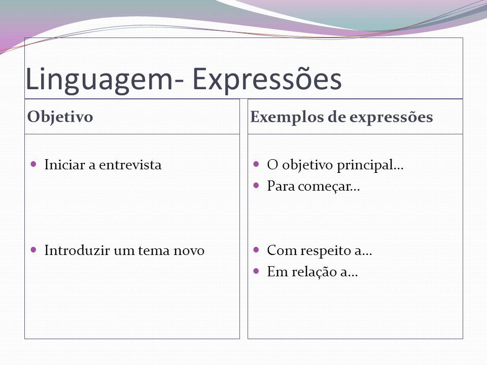 Linguagem- Expressões Objetivo Exemplos de expressões Iniciar a entrevista Introduzir um tema novo O objetivo principal... Para começar... Com respeit